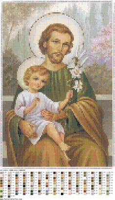 São José Cross Stitch Angels, Cross Stitch Tree, Cross Stitch Borders, Cross Stitch Samplers, Cross Stitch Designs, Cross Stitching, Cross Stitch Embroidery, Religious Cross Stitch Patterns, Cross Patterns
