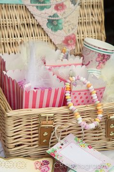 Cute goody bags come complete with the vintage hen hamper.  Includes a sweet candy necklace and a dolly mixture shot glass feather party favour.  All presented in candy pink retro sweet carton with matching pink tissue paper.  From www.fuschiadesigns.co.uk.