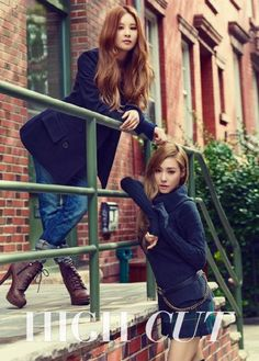 Girls Generation TTS-Seo and Ti look Autumn Chic for High Cut October 2014
