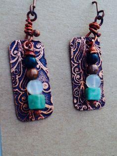 Boho chic copper earrings/copper and gemstone earrings on Etsy, $30.00