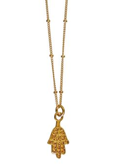 Brush the negative energy away & add a touch of gold to your outfit with this charming gold vermeil Hand of Fatima pendant. It's suspended from a gold filled beaded chain. Hamsa Necklace, Gold Necklace, 24k Gold Jewelry, Hand Of Fatima, Touch Of Gold, Handmade Jewelry, Unique Jewelry, Bling, Jewels