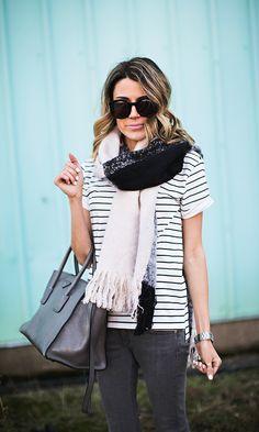 Striped Tee | Plaid Scarf Hello Fashion Blog, Fashion Bloggers, Boyfriend Coat, Cute Date Outfits, Petite Fashion, Fashion Outfits, Womens Fashion, Striped Tee, Well Dressed