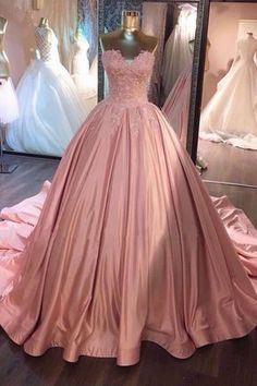 Sweetheart lace appliques pink satin long strapless A-line prom dress, ball gown