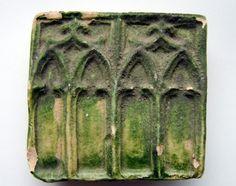 16th CENTURY GREEN GLAZE STOVE TILE GOTHIC ARCH DESIGN | eBay