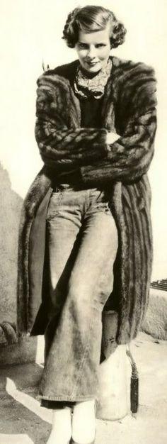Katharine Hepburn c.1930's  Jeans and full length mink coat.