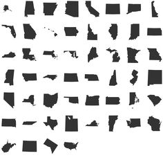 StateFace Dingbat Font Specimen - get the Disney states via a dingbat ** NOTE: Florida dingbat is uppercase I, California is Capital E