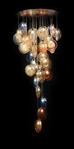 Breath hand blown glass chandelier from Interieurs Art De Vivre by Francine gardner Blown Glass Chandelier, Glass Pendant Light, Glass Pendants, Shell Pendant, Unique Lighting, Home Lighting, Chandelier Lighting, Pendant Chandelier, Diy Lampe