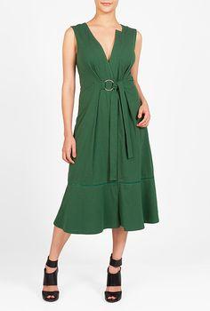 I <3 this Tie front cotton knit midi dress from eShakti
