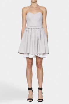 Double Layer Box Pleat Dress   NICOLA FINETTI   STONE/IV