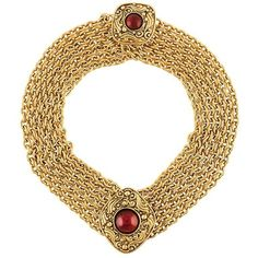 Chanel Vintage Gripoix Multi Strand Choker ($2,275) ❤ liked on Polyvore featuring jewelry, necklaces, layered chain necklace, gold plated chain necklace, vintage chain necklace, vintage jewelry and multiple strand necklace