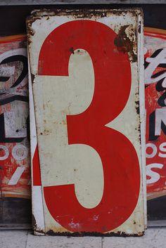 数字 Gas Station Numbers by Smash Inventory, Lucky Number, Number 3, Street Art, Alphabet And Numbers, Image Hd, Graphic Design Inspiration, Vintage Advertisements, Signs, Hand Lettering