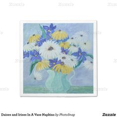 Daises and Irises In A Vase Napkins Standard Cocktail Napkin