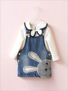 Cheap girls jean dress, Buy Quality baby girl jeans dress directly from China girls princess Suppliers: 2016 baby girl jean dress child clothing set children clothes suits kids girls princess bunny denim dresses + girl blouse Little Girl Dresses, Girls Dresses, Jean Overall Dress, Baby Girl Jeans, Girls Long Sleeve Tops, Girls Blouse, Jeans Dress, Denim Dresses, Fashion Kids