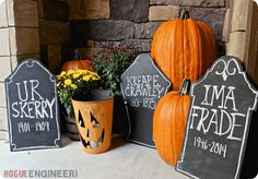 DIY Home Decor | DIY Projects | Turn some scrap wood into chalkboard tombstones inspired by Pottery Barn. These are the perfect addition to a frighteningly fun Halloween front porch!
