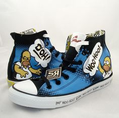 New! Converse THE SIMPSONS Homer DOH! All Star Chuck Taylor Canvas Shoes Family