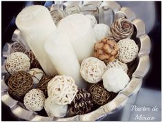 #Christmas #navidad #ideas #esferas #nature #naturaleza #beige #cafe #brown #candles #pewter #silver