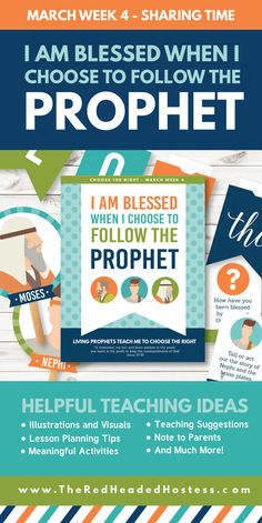 Primary Sharing Time (March Week 4) - I Am Blessed When I Choose to Follow the Prophet - Awesome teaching ideas!