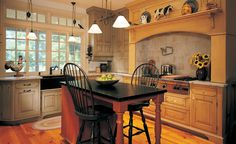 Barbara Herr Kitchens LLC blends practical efficiency and individual style into personalized kitchens and living spaces. Turned wood and wrought iron pulls along with PA German style cabinetry in distressed paint gives the appearance of age. Colonial Kitchen, River House, Wood Turning, Wrought Iron, Living Spaces, Primitive, Table, Kitchens, Furniture