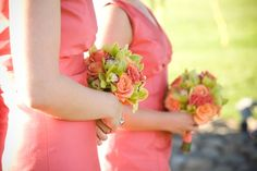Light coral dresses with perfect complimentary bouquets