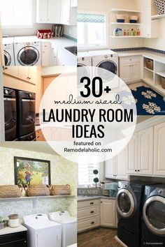 Medium Sized Laundry Room Ideas And Inspiration Featured On Remodelaholic.com #laundryrooms #laundry #home #designideas Laundry Essentials, Home Appliances, Room, Home, Old Wood Floors, Glass Front Cabinets, Laundry, Upper Cabinets, Laundry Room