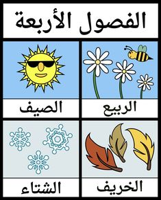 The Four Seasons in Arabic - Taraab Shaheed Arabic Alphabet Letters, Arabic Alphabet For Kids, Name Activities Preschool, Toddler Learning Activities, Alphabet Writing Worksheets, Teaching Kids Respect, Word Games For Kids, Learning Arabic, Learn Arabic Online