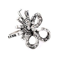 Bow Ring Stunning Bow Ring  Size: 6 Materials: Silver-tone Base Metals, Rhinestones, Resin  Nickel Lead Free  Condition: New Jewelry Rings
