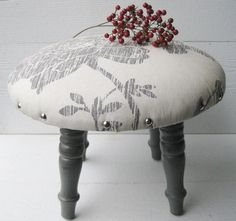 Distressed Gray Stool with Gray and Cream Print by FineAndShabby, $28.99