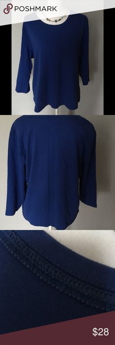 Serengeti catalog.com 3/4 sleeve shirt 100%cotton royal blue top with side slits and nice stitching around collar. Excellent condition. Size 1X Serengeti catalog.com Tops
