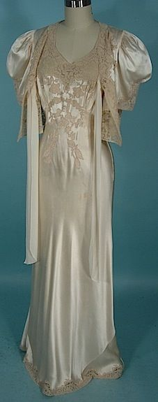 Circa 1930s Silk and Lace Nightgown with Matching Bed jacket.