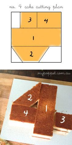 How to cut a number 4 cake // my poppet                                                                                                                                                     More