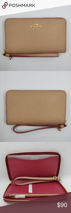 """NWOT Coach Phone Wallet Nude and pink phone wallet. Cross grain leather. 6 credit card slots. Zip coin pocket. Inside phone compartment. Zip around closure. Wrist strap attached. Measures 6  1/4""""(L) 3  3/4""""(H) 3/4""""(W)   It will be shipped in its original Coach packaging shown in the picture. Coach Bags Wallets"""