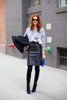 Taylor Tomasi Hill in a grey sweatshirt + white button-up + black leather pencil skirt + black suede over-the-knee boots