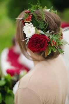 red flower crown - photo by Janeane Marie Photography http://ruffledblog.com/christmas-tree-farm-inspiration-shoot