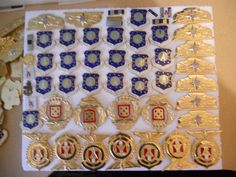 APROX 194 MISC US BADGES-ARMY/AIR FORCE/NAVY/FOREIGN BRASS LOT-DEALER LOT 3