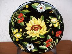 Pin by Marta Mangos on Ceramic plates. Plates And Bowls, Plates On Wall, Hand Painted Plates, Decorative Plates, Sunflower Themed Kitchen, Blue Nose Friends, Art For Art Sake, Ceramic Plates, Sell On Etsy