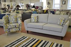 Bond Two Piece Fabric Suite 3 Seater Sofa + Tub Chair Grey + Yellow Pattern