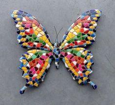 wanddecoratie 15 cm vlinder mozaiek 29933