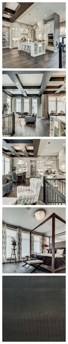 There is a decidedly glamorous edge to this breathtaking model home by Alquinn Homes in Edmonton. The sophisticated palette of greys and creams adds to the luxe appeal. Farmhouse flooring in the colour Le Bourg. - Amazing Interior Design