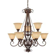Millennium Lighting Auburn 33-in 9-Light Rubbed Bronze Mediterranean Scavo Glass Tiered Chandelier
