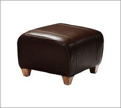Manhattan Leather Ottoman | Pottery Barn