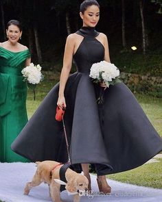 Vintage Black Bridesmaid Ball Gown Ankle Length Sleeveless Three Kinds Of Wedding Guest Garden Gowns Customized Cheap