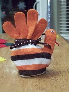 Thanksgiving turkey gloves - for kids table.
