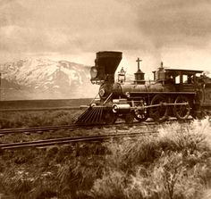 Smoke & Steam ~ Classic Look ~ Central Pacific Railroad near Salt Lake City, Utah around 1869 ~ BFD Central Pacific Railroad, Westerns, Into The West, Old Trains, Salt Lake City Utah, Le Far West, Steam Locomotive, Train Tracks, Old West