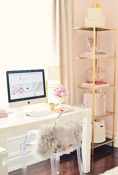 70 Trendy Home Office Furniture Desk Computers Home Office Space, Home Office Design, Home Office Furniture, Home Office Decor, Home Decor, Bedroom Furniture, Pink Office Decor, Apartment Office, White Office