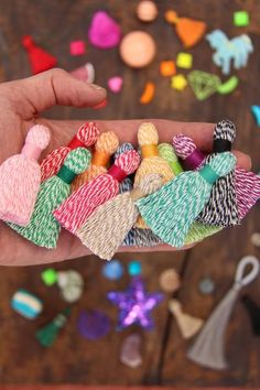 "Baker's Twine Tassels NEW Design, Spring Summer Pantone Colors, Mala Necklace Tassels, Rustic Boho Handmade Tassels, 2"" Exclusive Design,"
