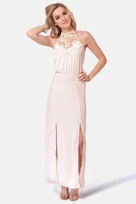 Fest Behavior Lace Cream Maxi Dress