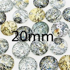 wholesale 20 pcs mix Steampunk gear Pattern Round Glass Cabochon 20mm 25mm Dome Flat Back DIY Jewery Finding KB1301