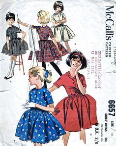 1960's Vintage Dress - McCalls 6657 vintage sewing pattern to make a full skirt dress. www.vintagepatternco.etsy.com £6.50 The Vintage Pattern Company