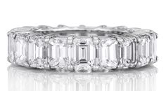 deBeers emerald cut diamond eternity band set in platinum (£20,400).
