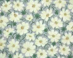 1940's Vintage Wallpaper - Floral Vintage Wallpaper Yellow Daisy Floral on Gray